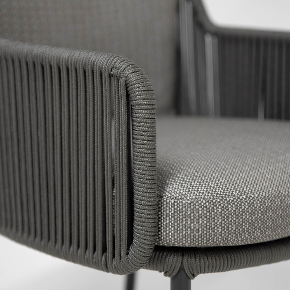 Bernini 0004 213728 Bernini dining chair platinum rope detail 01