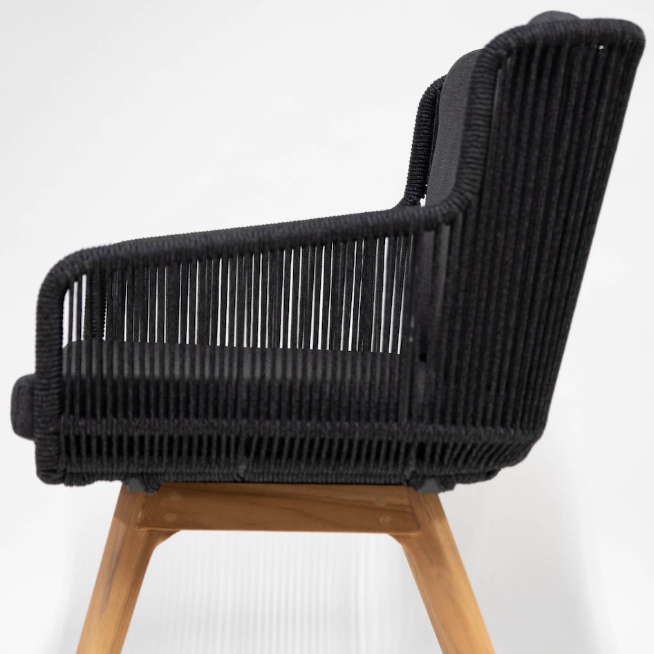 Flores 0000 213731 Flores dining chair anthracite rope teak frame detail 07