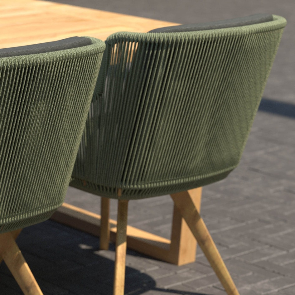 Flores 0004 Flores dining chair green rope with Spartan table Outdoor scene