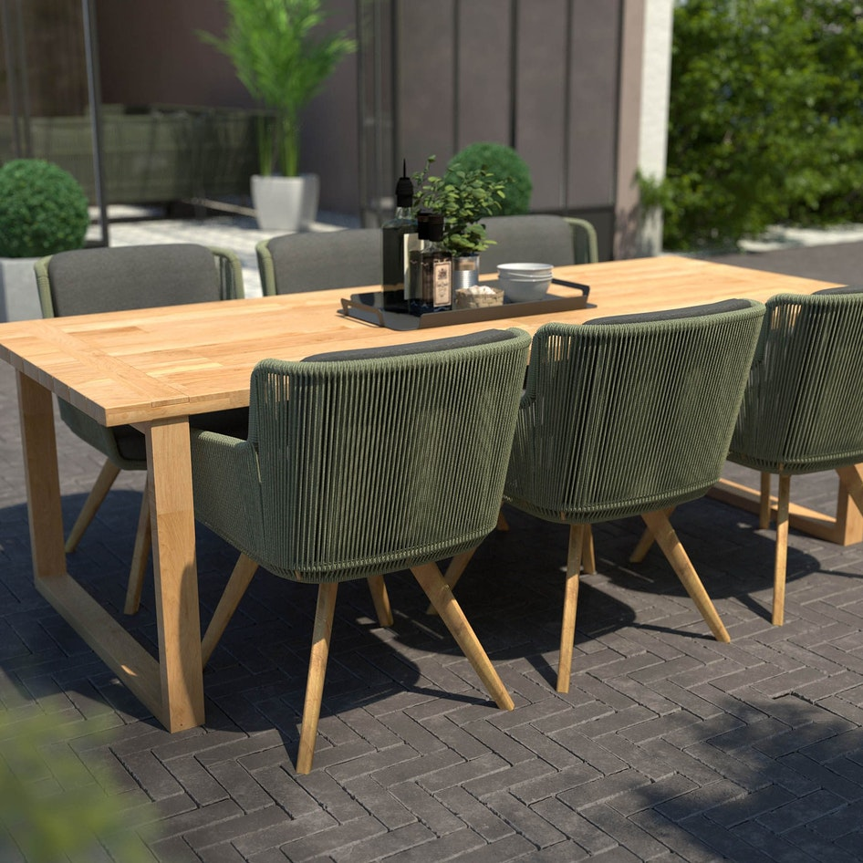 Flores 0005 Flores dining chair green rope with Spartan table Outdoor scene adjusted dimensions