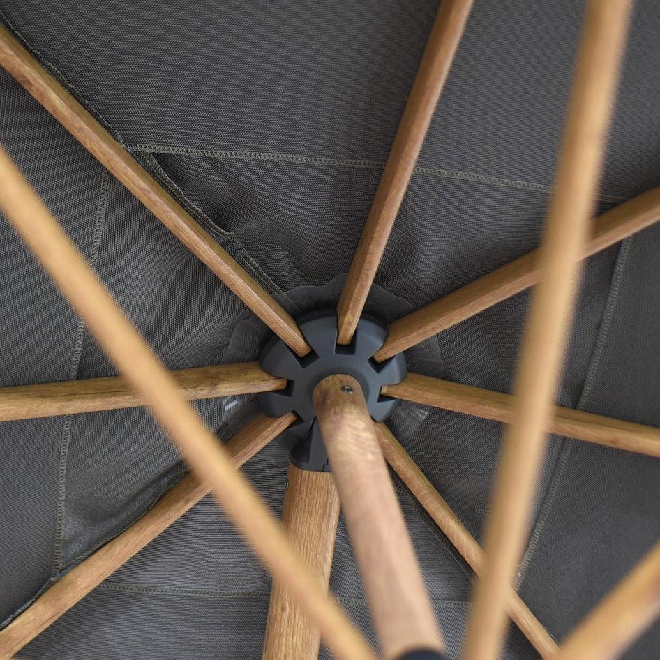 Siesta premium 0003 Siesta premium 300x300cm Charcoal fabric Woodlook frame detail 01
